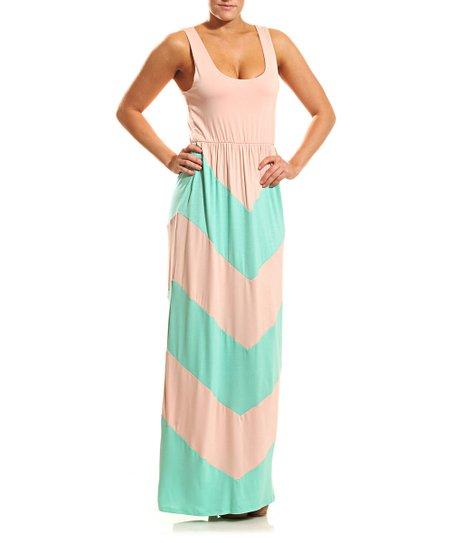 Peach & Mint Chevron Scoop Neck Maxi Dress