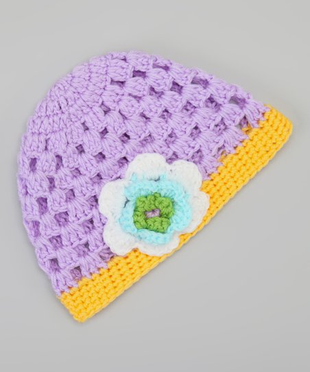 Purple & Yellow Flower Beanie