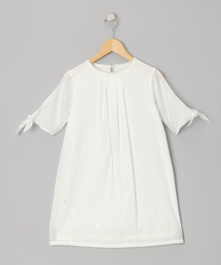 Ivory Swiss Dot Split-Sleeve Dress - Girls
