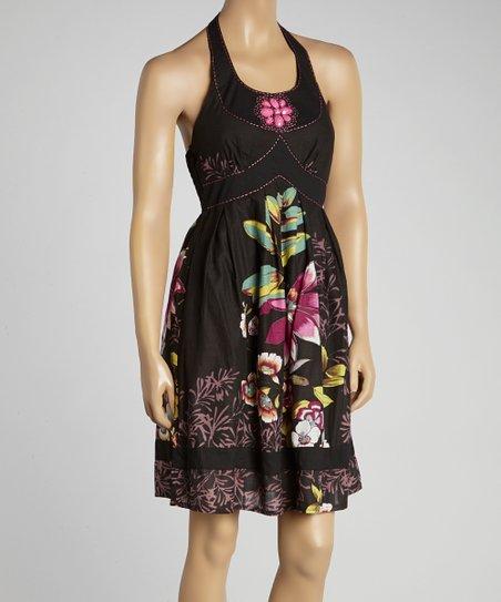 Black & Pink Floral Beaded Halter Dress - Women