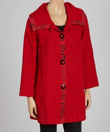 Red Textured Swing Coat
