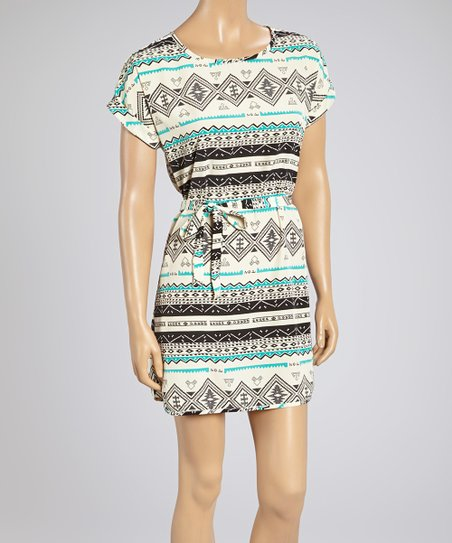 Black & Turquoise Tribal Belted Dress – Women