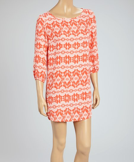 Coral Abstract Shift Dress