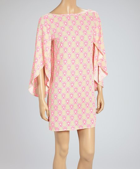Neon Pink & Beige Lattice Bishop Sleeve Shift Tunic