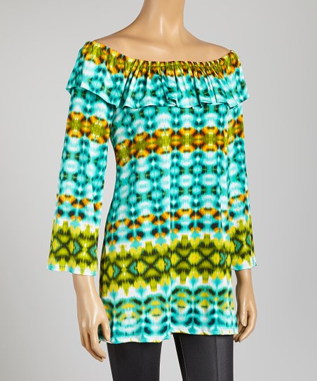 Blue & Green Abstract Drape Tunic