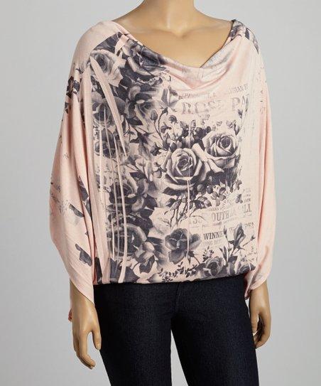 Blush & Gray Floral Cowl Neck Top - Women & Plus