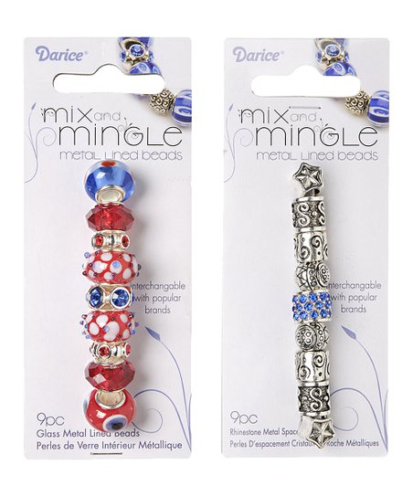 Patriotic Glass & Silver Metal Bead Set