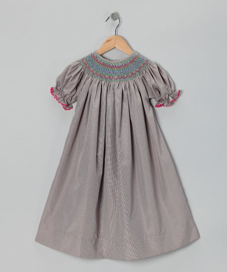Smocked Gems Chocolate Brown Geo Bishop Dress - Toddler & Girls