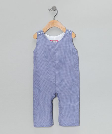 Smocked Gems Navy Blue Gingham Overalls - Infant & Toddler
