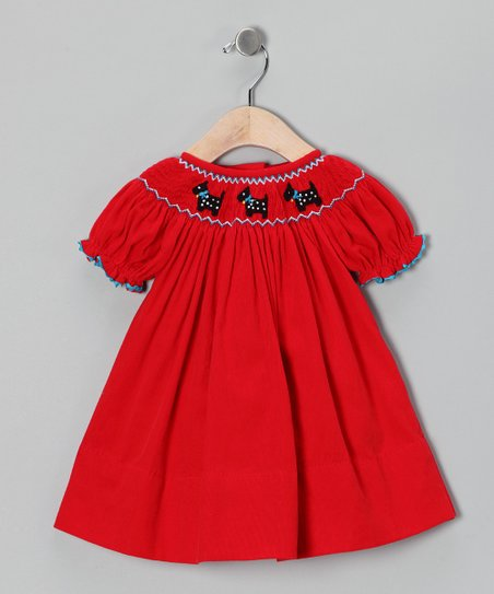 Smocked Gems Red Scottie Bishop Dress - Infant, Toddler & Girls