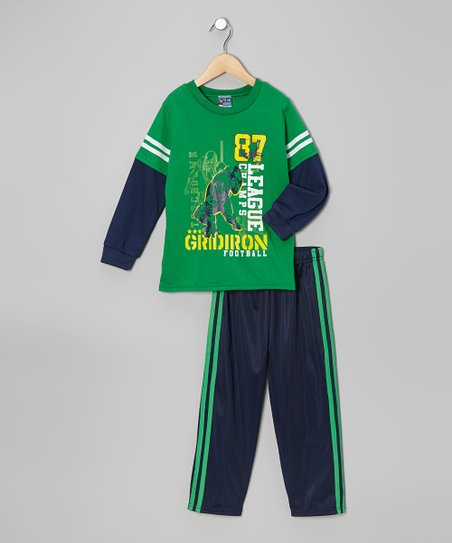 Green 'Gridiron' Layered Tee & Pants - Infant