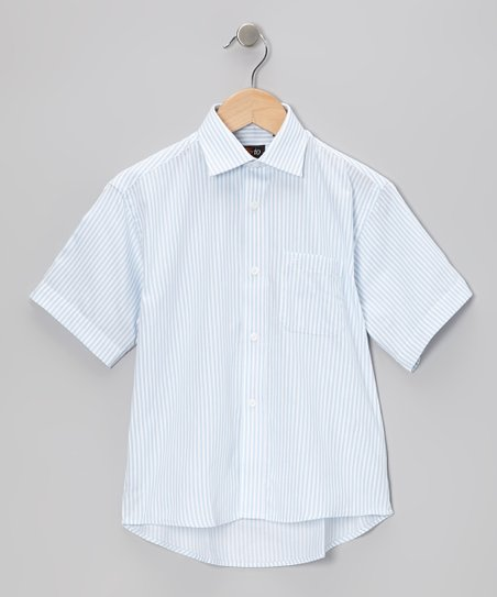 Blue & White Stripe Short-Sleeve Button-Up - Toddler & Boys