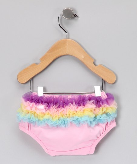 Pink Rainbow Ruffle Diaper Cover - Infant & Toddler