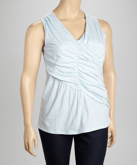 Blue Ruched Tank - Plus