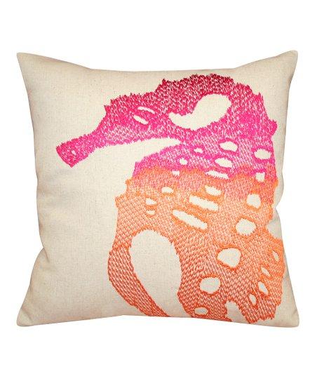 Coral Ombre Sea Horse Throw Pillow
