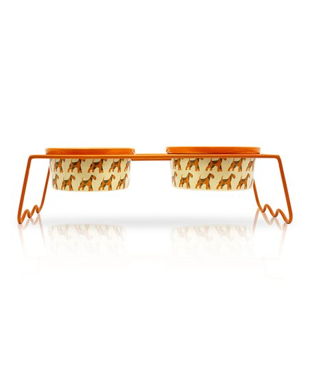 Orange Airedale Terrier Holder & Bowl Set