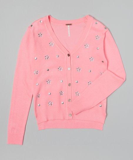 Super Pink Rhinestone Flower & Paillette Cardigan