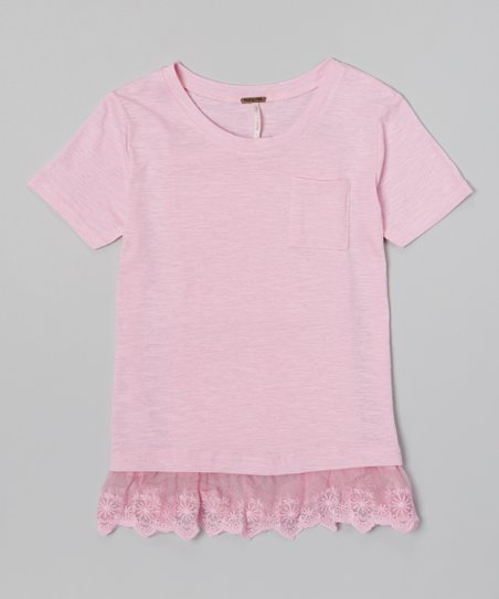 Soft Pink Heather Lace-Trim Pocket Tee