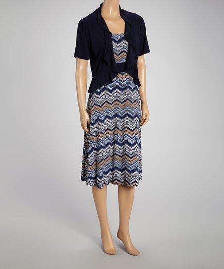 Navy & Taupe Ruffle Dress & Jacket - Women & Plus