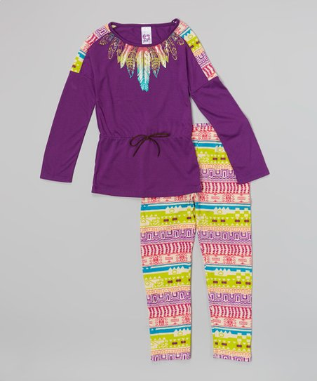 Plum & Lime Tribal Feather Tunic & Leggings – Toddler & Girls