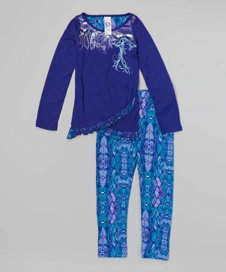 Blue Snake Tunic & Leggings – Girls