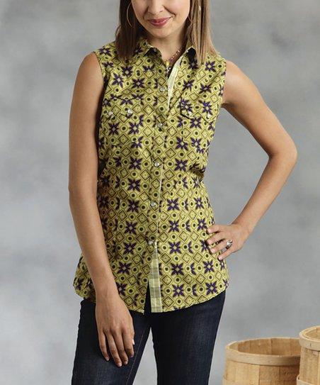 Green Geometric Sleeveless Button-Up - Women