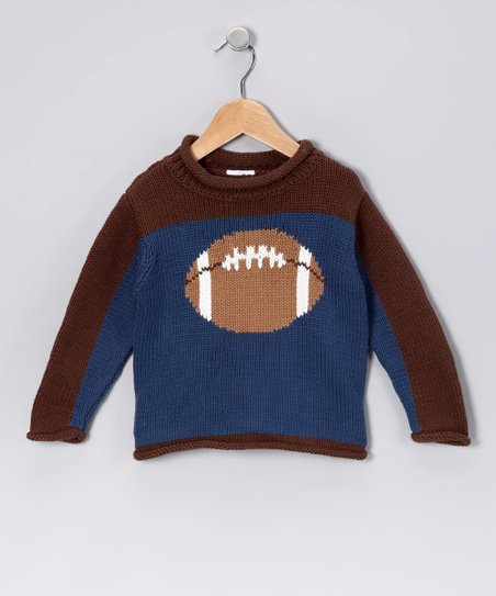 Ink Blue & Brown Football Sweater - Boys