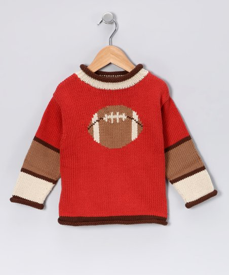 Red &amp; Brown Football Sweater - Boys
