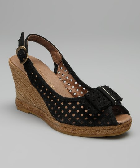 Black Ashley Sling-Back Espadrille