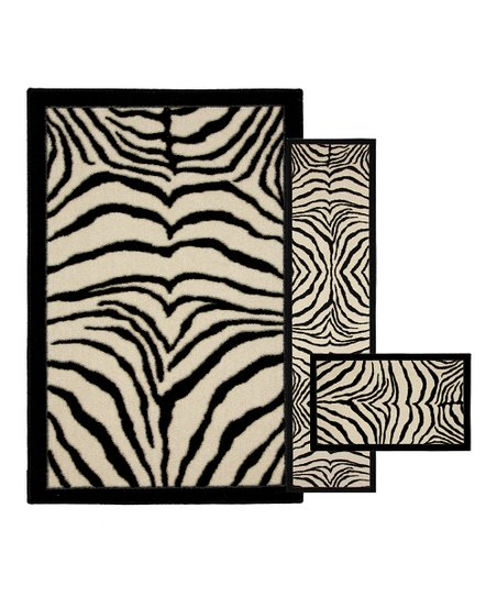 Zebra Safari Three-Piece Rug Set