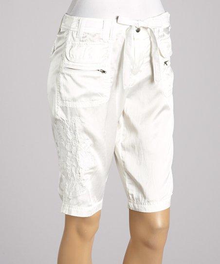 White Drawstring Silk-Blend Bermuda Shorts