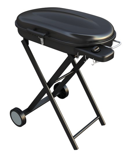 Black Portable Gas Grill & Rolling Cart