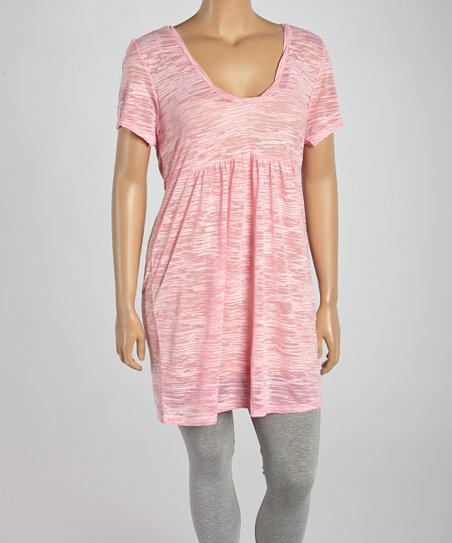 Light Pink Burnout Scoop Neck Tunic - Plus