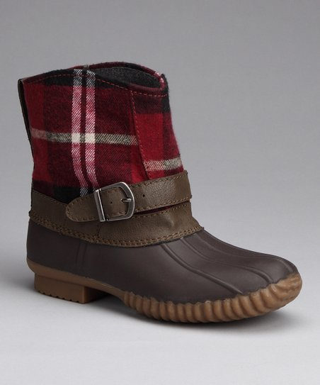 Red Plaid Rain Boot