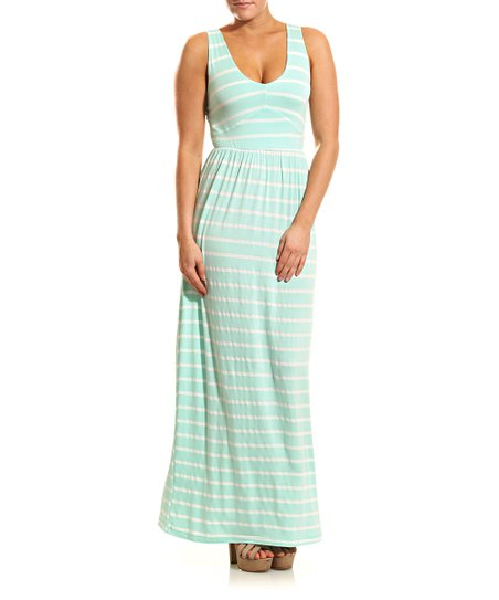 Mint & White Stripe Maxi Dress