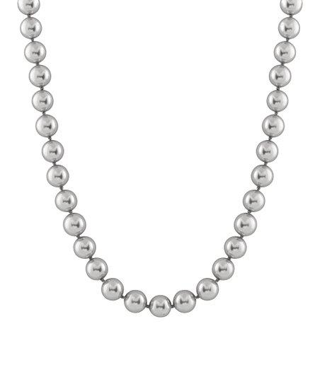Dark Gray Petite Shell Pearl Necklace