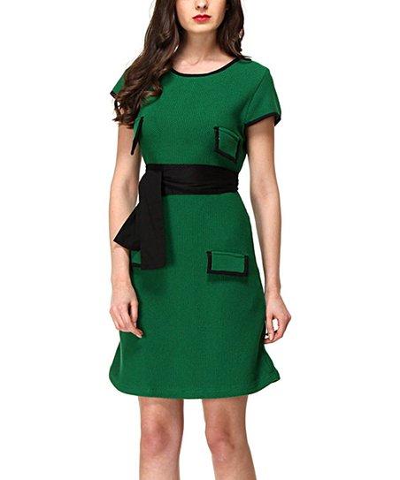 Green & Black Eden Sheath Dress
