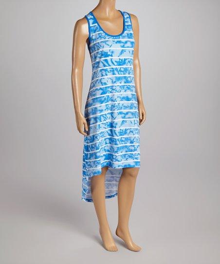 Turquoise & White Stripe Hi-Low Dress
