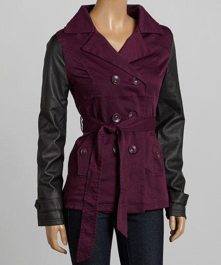 Purple & Black Short Twill Trench Coat - Women