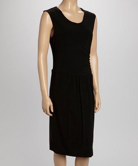 Black Gathered Waist Scoop Neck Dress