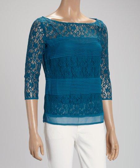 Aqua Top Lace Three-Quarter Sleeve Top