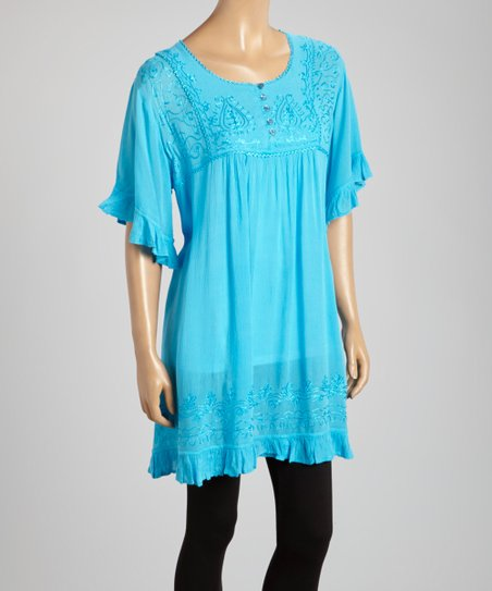 Turquoise Embroidered Button-Up Short-Sleeve Tunic