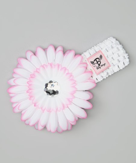 White & Pink Rhinestone Flower Headband