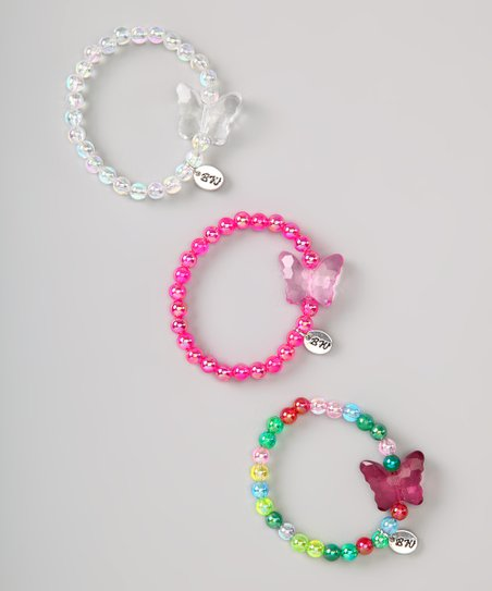 Pink & White Charming Butterfly Bracelet Set