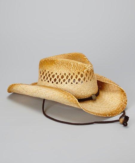 Tan Pendant Open-Weave Cowboy Hat