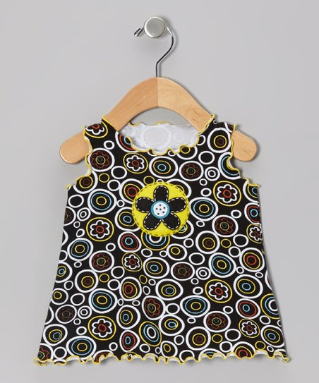 Black Crazy Circle Swing Top - Infant, Toddler & Girls