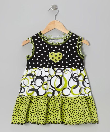Green & Black Tiered Ruffle Top - Toddler & Girls