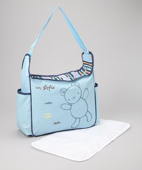 Light Blue &amp; Navy Diaper Bag