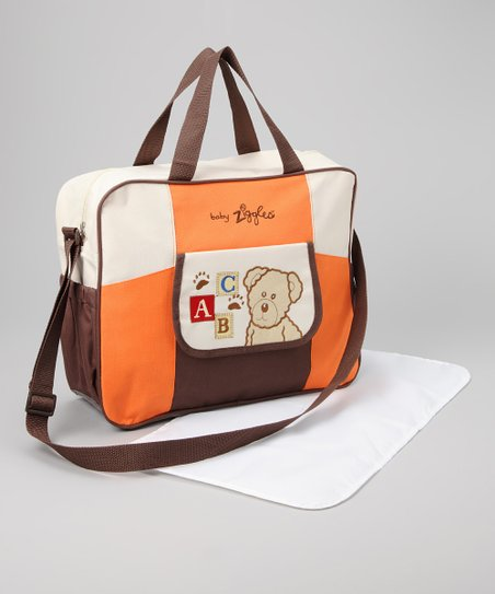 Brown &amp; Orange Diaper Bag