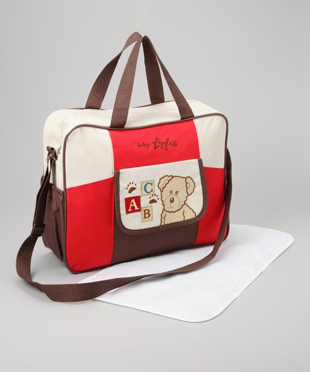 Brown & Red Diaper Bag